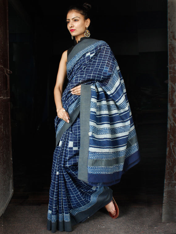 Indigo White Chanderi Silk Hand Block Printed Saree With Geecha Border - S031703605