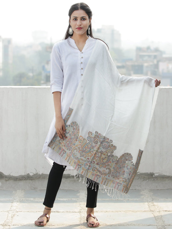 Ivory Multi Color Paisly Weaved Border Silk Wool Kashmiri Stole - S200573