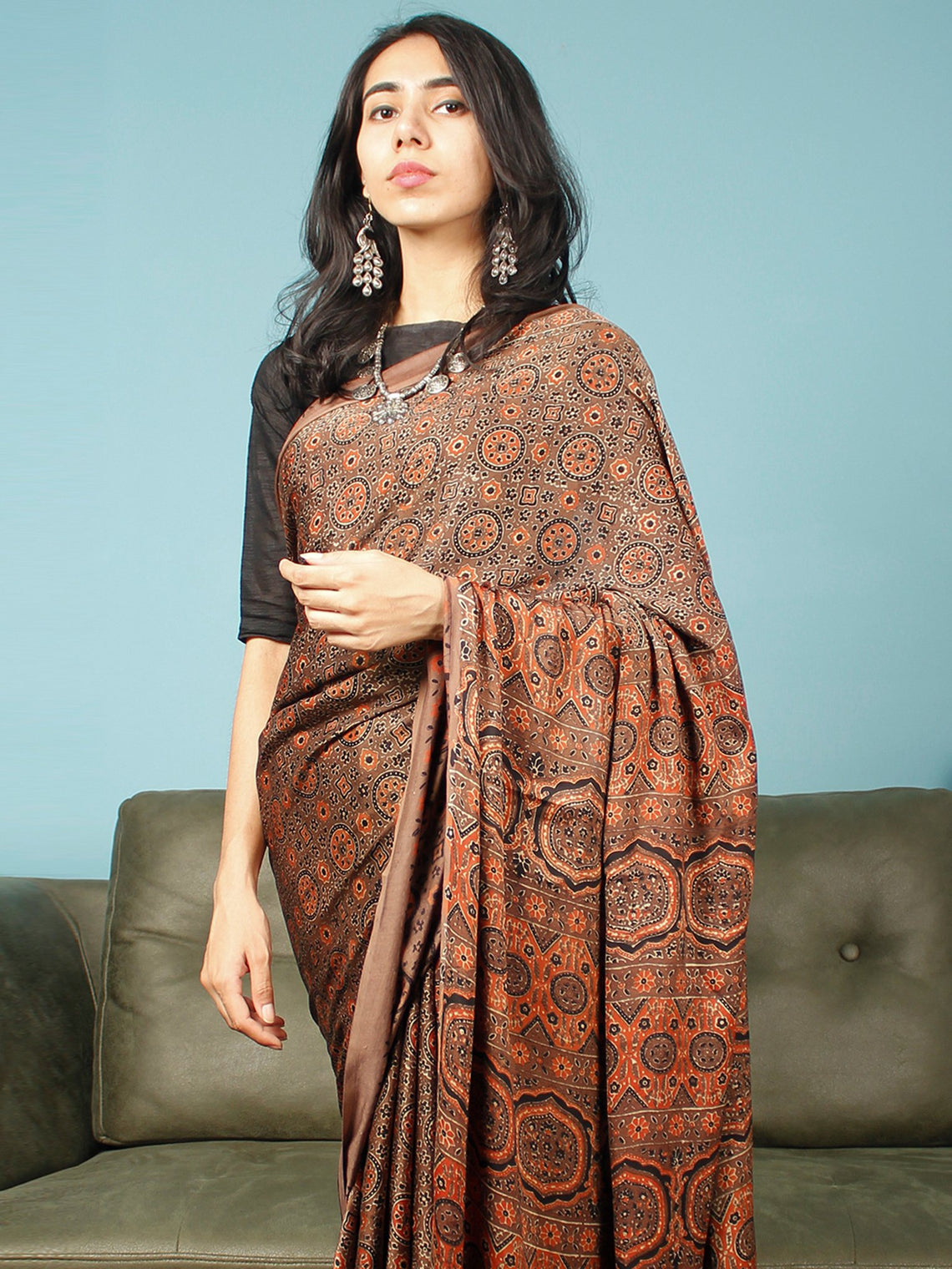 Brown Rust Black Ajrakh Hand Block Printed Modal Silk Saree in Natural Colors - S031703363