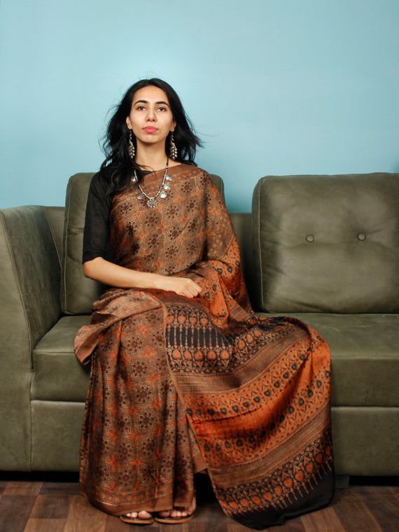 Brown Rust Black Ajrakh Hand Block Printed Modal Silk Saree in Natural Colors - S031703364