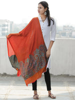 Dark Orange Multi Color Paisly Weaved Border Silk Wool Kashmiri Stole - S200575