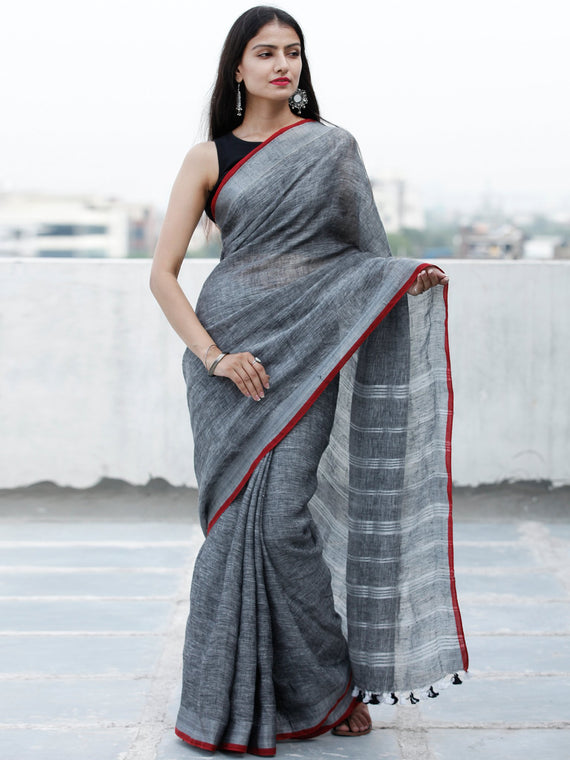 Grey Silver Handwoven Linen Saree With Zari Border & Tassels - S031703757