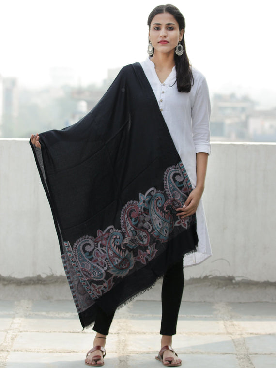 Black Multi Color Paisly Weaved Border Silk Wool Kashmiri Stole - S200572