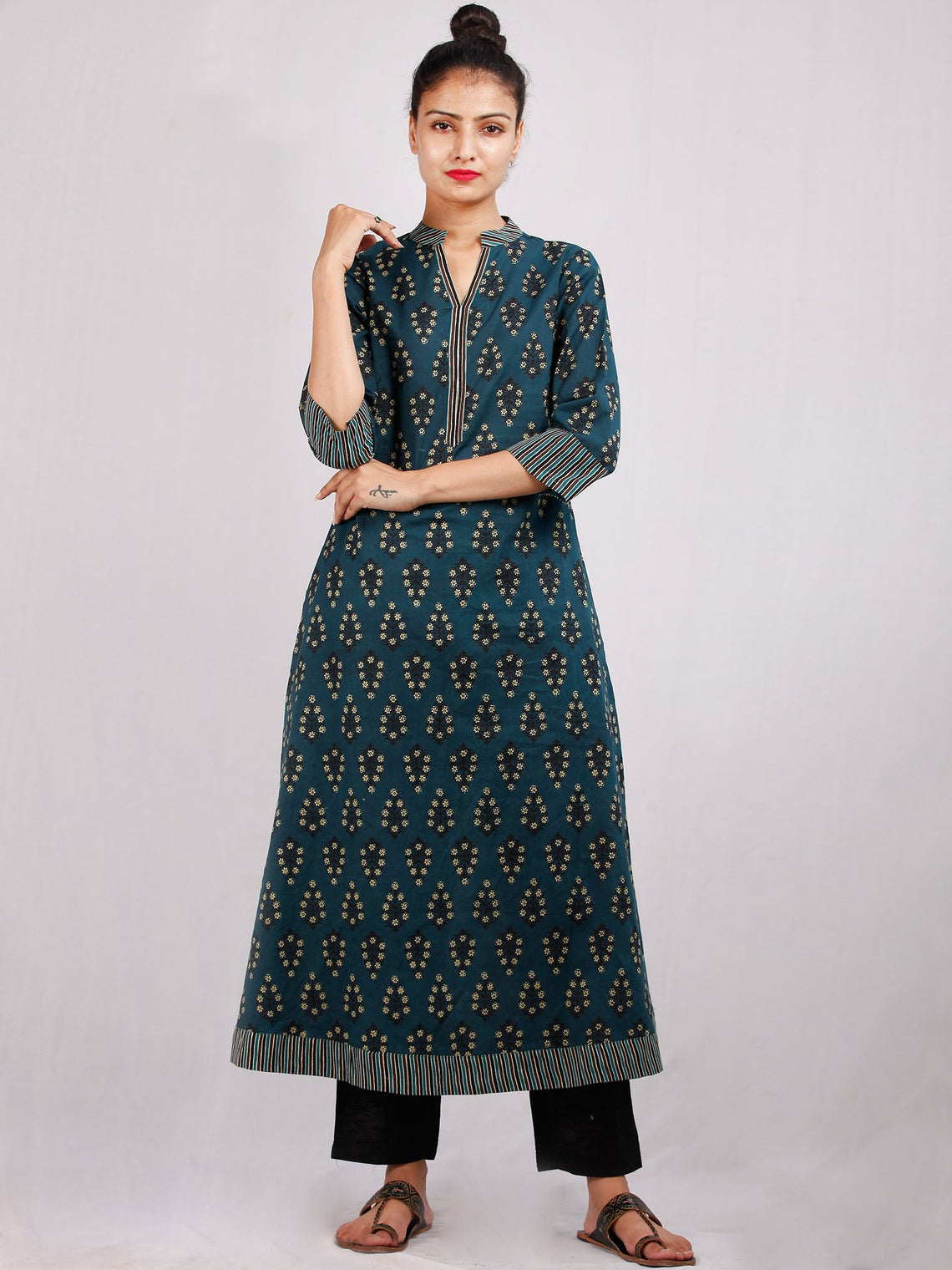 Hunter Green Black Yellow Hand Block Printed Cotton Kurta - K191F1882