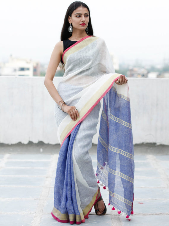 Off White Blue Handwoven Linen Saree With Zari Border & Tassels - S031703760