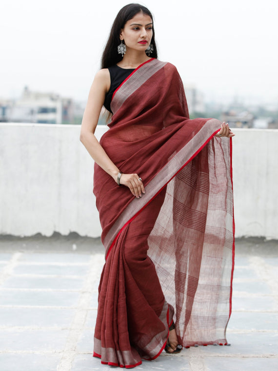 Sangria Silver Handwoven Linen Saree With Zari Border & Tassels - S031703762