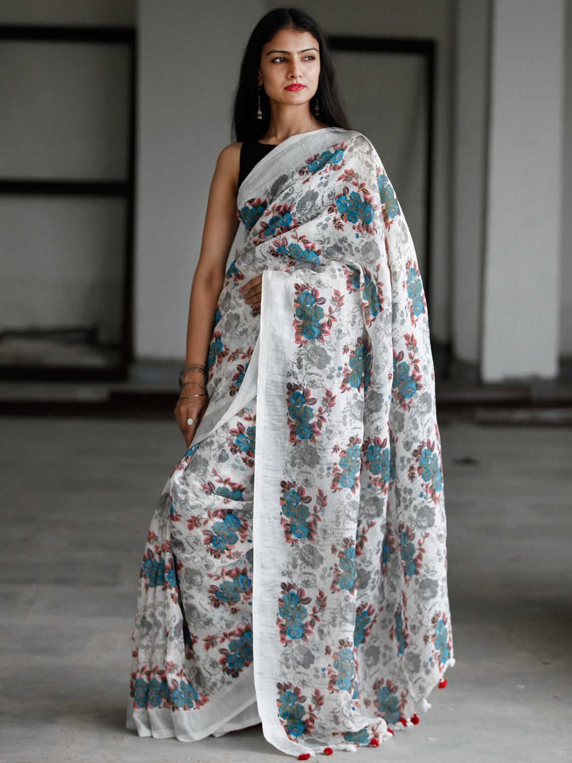 White Blue Pink Grey Printed Handwoven Linen Saree With Zari Border & Tassels - S031703763