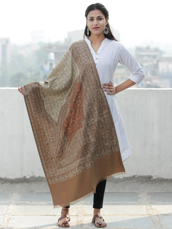 Beige Light Brown Jamawar Aari Embroidered Woollen Kashmiri Stole - S200587