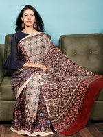 Ivory Indigo Red Ajrakh Hand Block Printed Modal Silk Saree in Natural Colors - S031703373