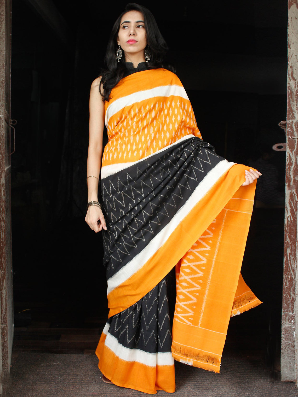 Orange Black White Grey Ikat Handwoven Cotton Saree - S031703643