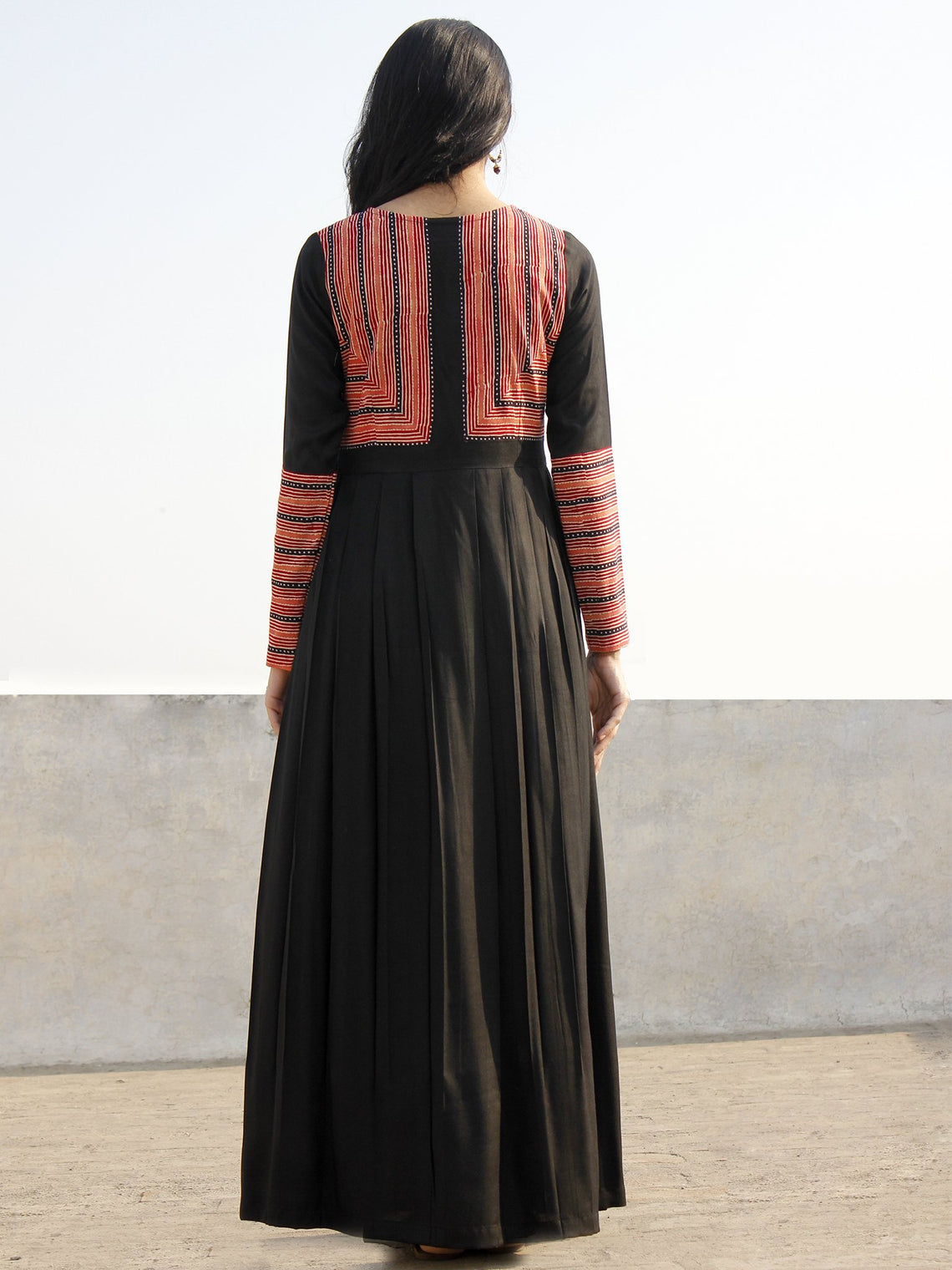 Black Deep Red Peach Ivory Long Ikat Cotton Rayon Dress With Knife Pleats -  D168F628