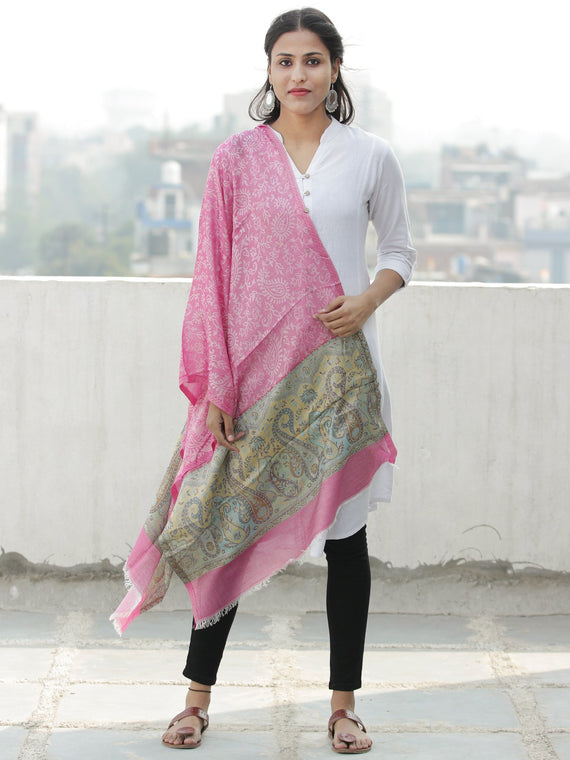 Pink Yellow Blue Self Weaved Modal Silk Wool Kashmiri Stole - S200596