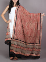 Red Black Cotton Mul Hand Block Printed Dupatta - D0417063