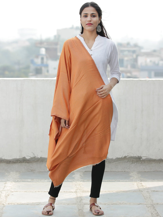 Rust Orange  Modal Silk Wool Kashmiri Stole - S200597