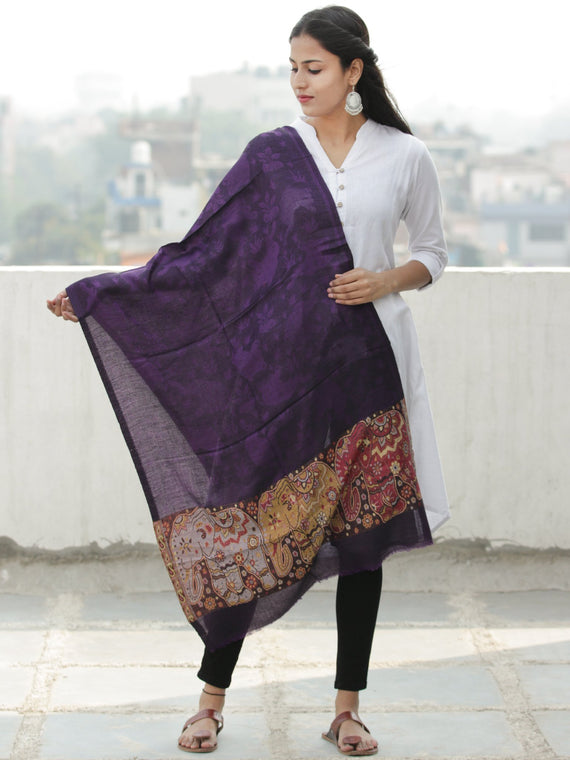 Purple Black Maroon Self Weaved Modal Silk Wool Kashmiri Stole - S200598