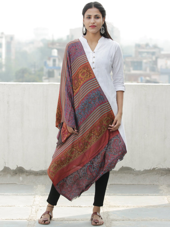 Rust Blue Mustard Self Weaved Modal Silk Wool Kashmiri Stole - S200599