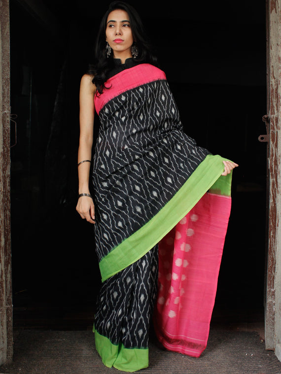 Black Pink Green Grey Double Ikat Handwoven Cotton Saree With Ganga Jamuna Border - S031703644