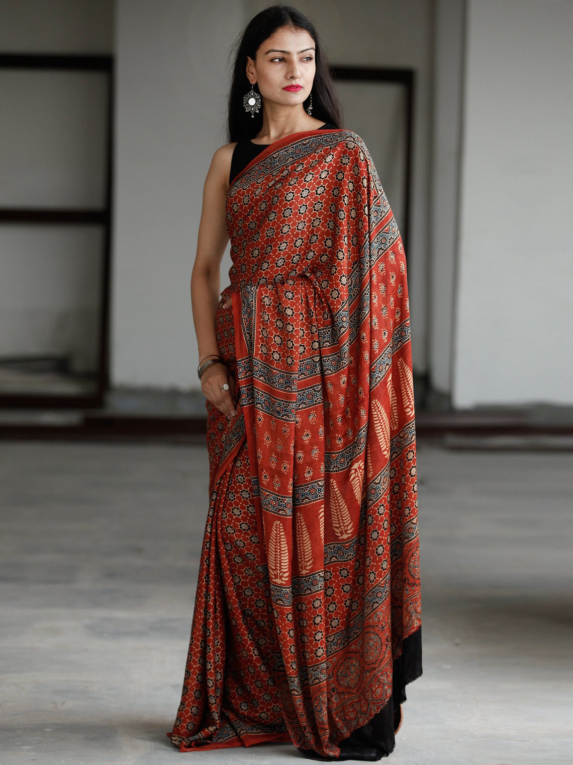 Red Beige Indigo Black Ajrakh Hand Block Printed Modal Silk Saree in Natural Colors - S031703733