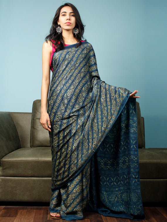 Indigo Green Ajrakh Hand Block Printed Modal Silk Saree in Natural Colors - S031703343