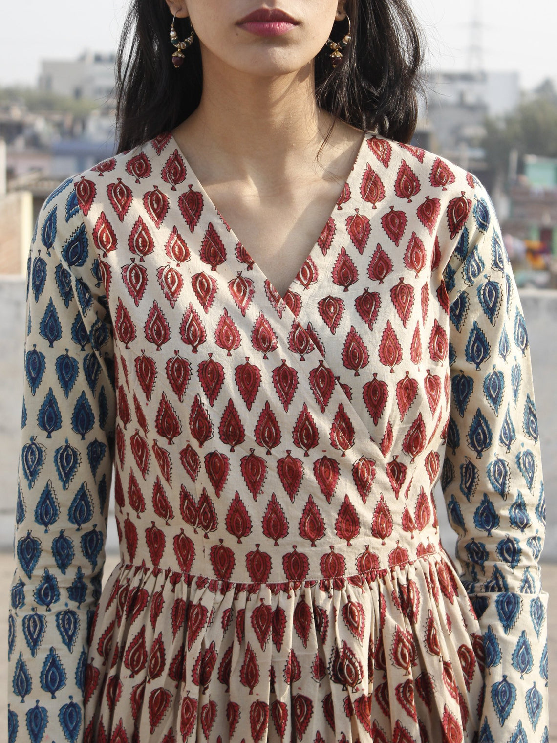 Beige Maroon Red Blue Black Hand Block Printed Tier Cotton Dress - D169F1085