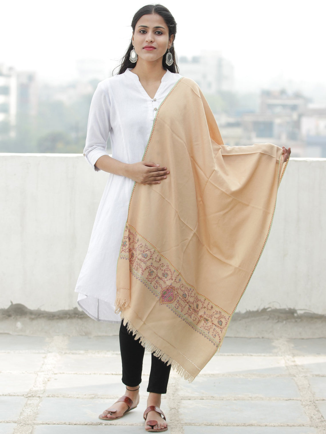 Beige Needle Embroidered Cashmere Fine Wool Kashmiri Stole - S200605