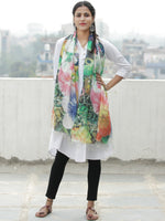 Ivory Multi Color Digital Print Modal Silk Wool Kashmiri Stole - S200609