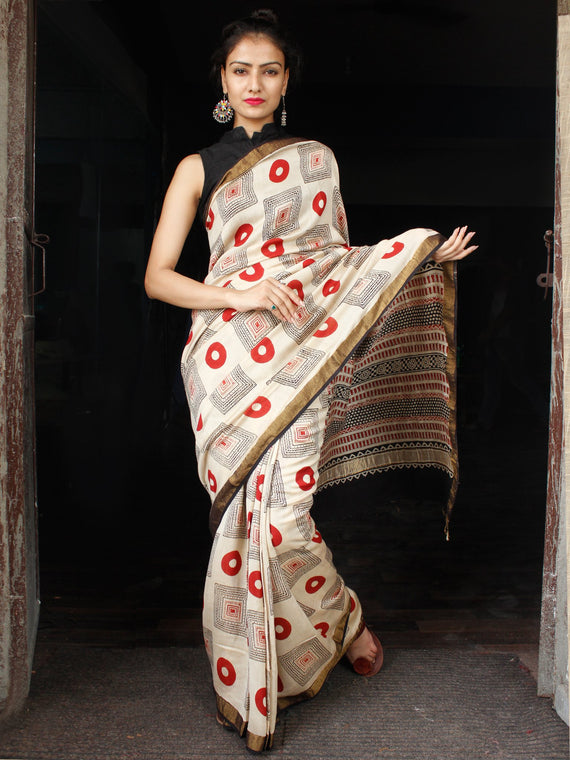 Beige Red Black Hand Block Printed Handwoven Linen Saree With Zari Border - S031703588