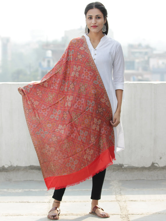 Red Multi Color Jamavar weaved Modal Silk Wool Kashmiri Stole - S200550
