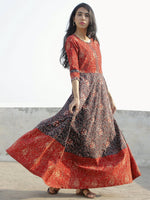 Deep Red Black Maroon Beige Hand Block Printed Long Cotton Dress - D150F1150
