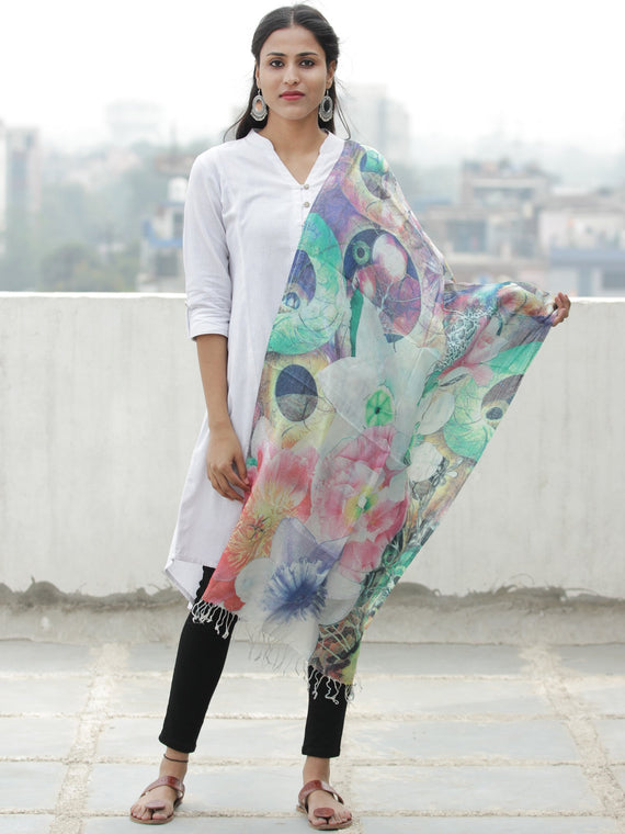 Ivory Multi Color Digital Print Modal Silk Wool Kashmiri Stole - S200611