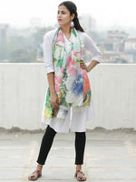 Ivory Multi Color Digital Print Modal Silk Wool Kashmiri Stole - S200610