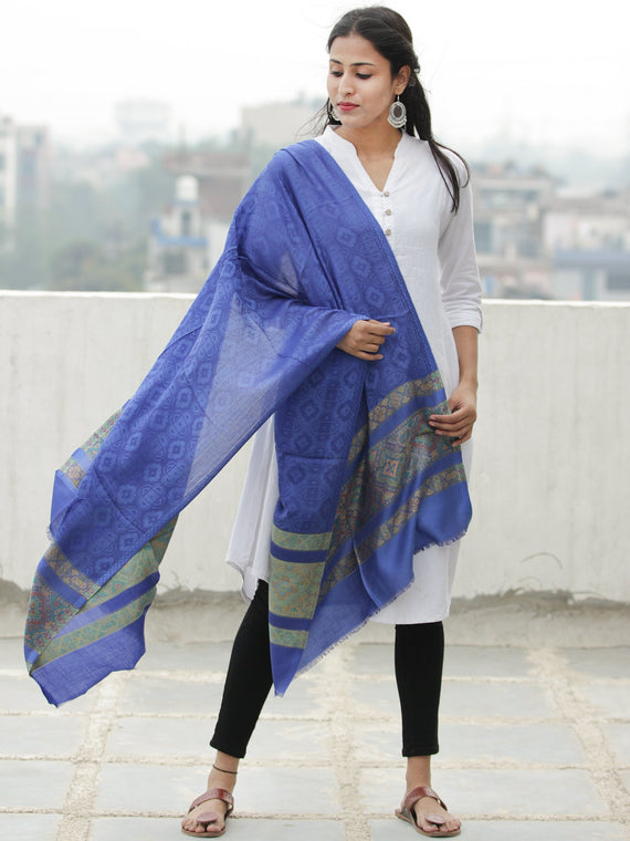 Royal Blue Green Self Weaved Silk Wool Kashmiri Stole - S200615