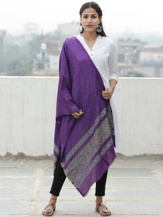 Purple Green Self Weaved Silk Wool Kashmiri Stole - S200614