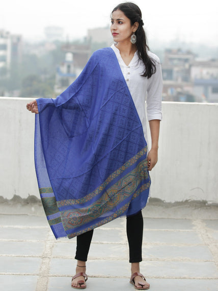 Royal Blue Green Self Weaved Silk Wool Kashmiri Stole - S200617