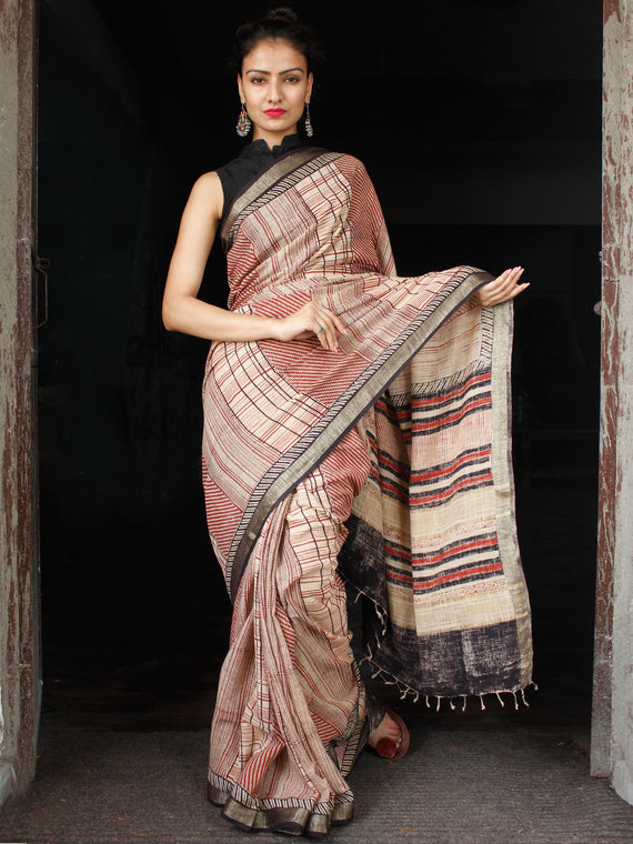 Beige Red Black Hand Block Printed Handwoven Linen Saree With Zari Border - S031703589
