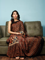 Maroon Beige Black Indigo Ajrakh Hand Block Printed Modal Silk Saree in Natural Colors - S031703345
