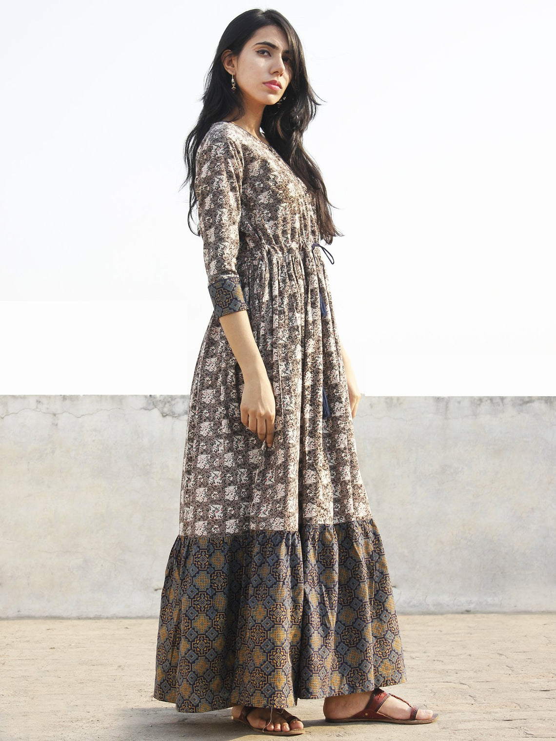 Grey Black Ivory Indigo Red Blue Hand Block Printed Long Cotton Dress  -  D170F770