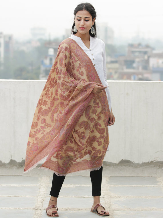 Ivory Pink Yellow Kaani Jamawar Weaved Pure Cashmere Wool Stole - S200623