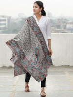Grey Black Blue Kaani Jamawar Weaved Pure Cashmere Wool Stole - S200624