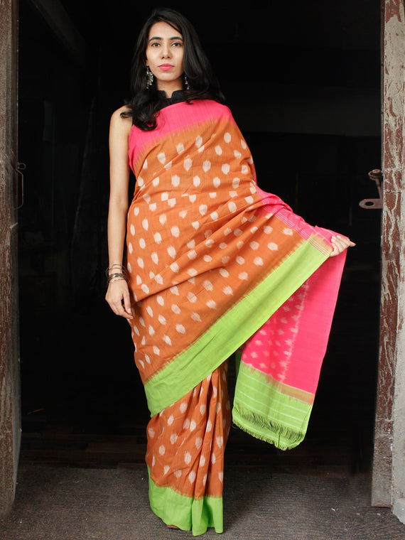 Peanut Brown Pink Green Double Ikat Handwoven Cotton Saree With Ganga Jamuna Border - S031703647