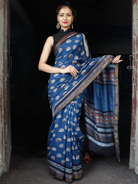Indigo Rust Ivory Hand Block Printed Handwoven Linen Saree With Zari Border - S031703591
