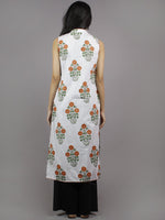 White Orange Olive & Parrot Green Hand Block Printed Kurti With Stand Collar And Side Slit - K326001