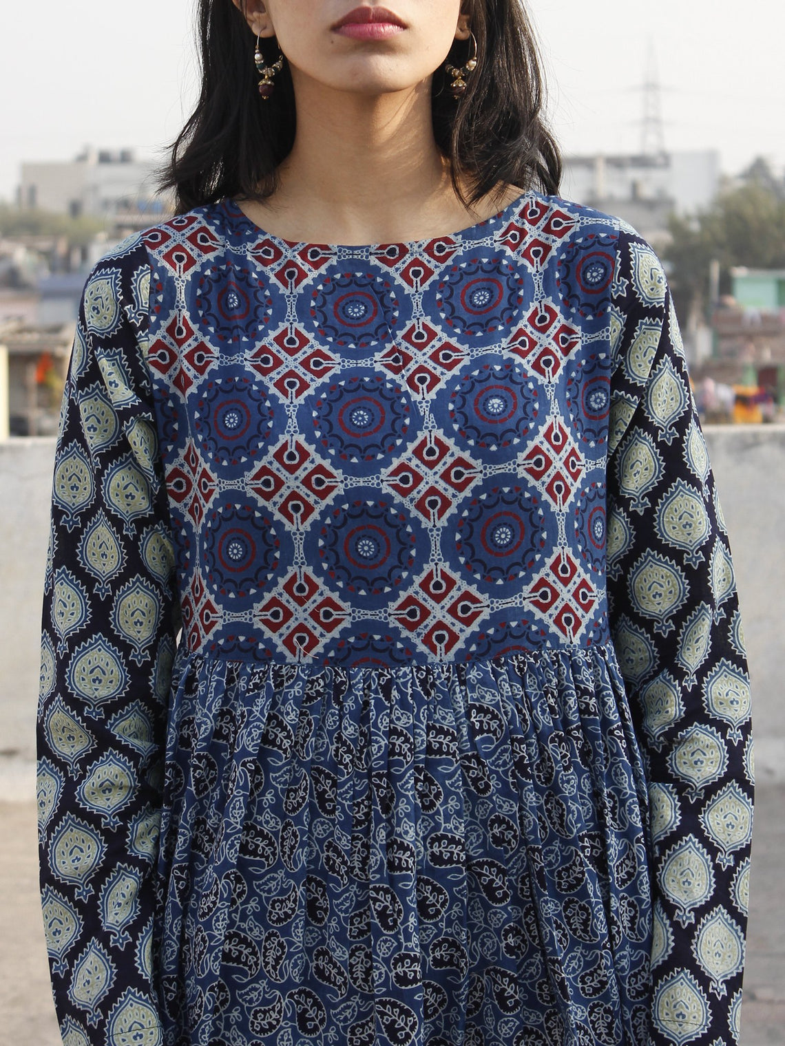 Indigo Maroon Green Ivory Hand Block Ajrakh Printed Long Cotton Tier Dress  -  D95F863