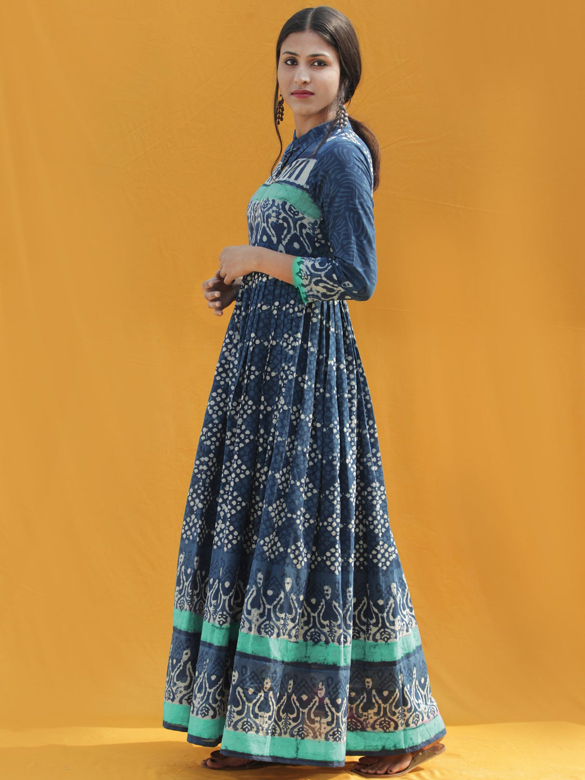 Rawza - Hand Block Printed Long Cotton Dress With Front Zip - DS82F003