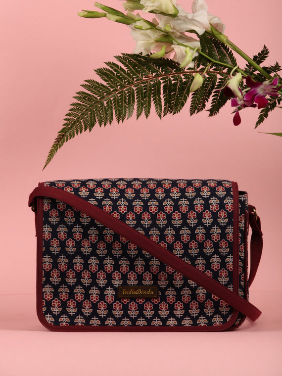Navy Ajrakh Block Printed Sling Bag - B0101