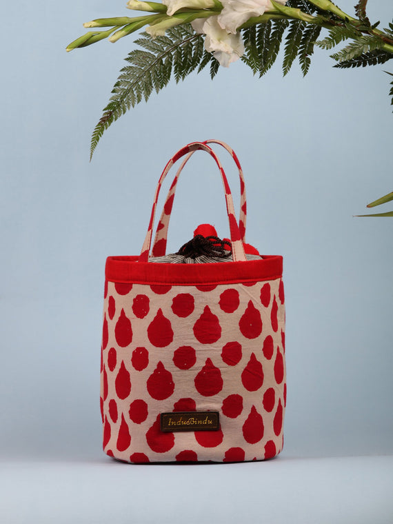 Beige Red Hand Block Printed Bucket Utility Bag - B0205