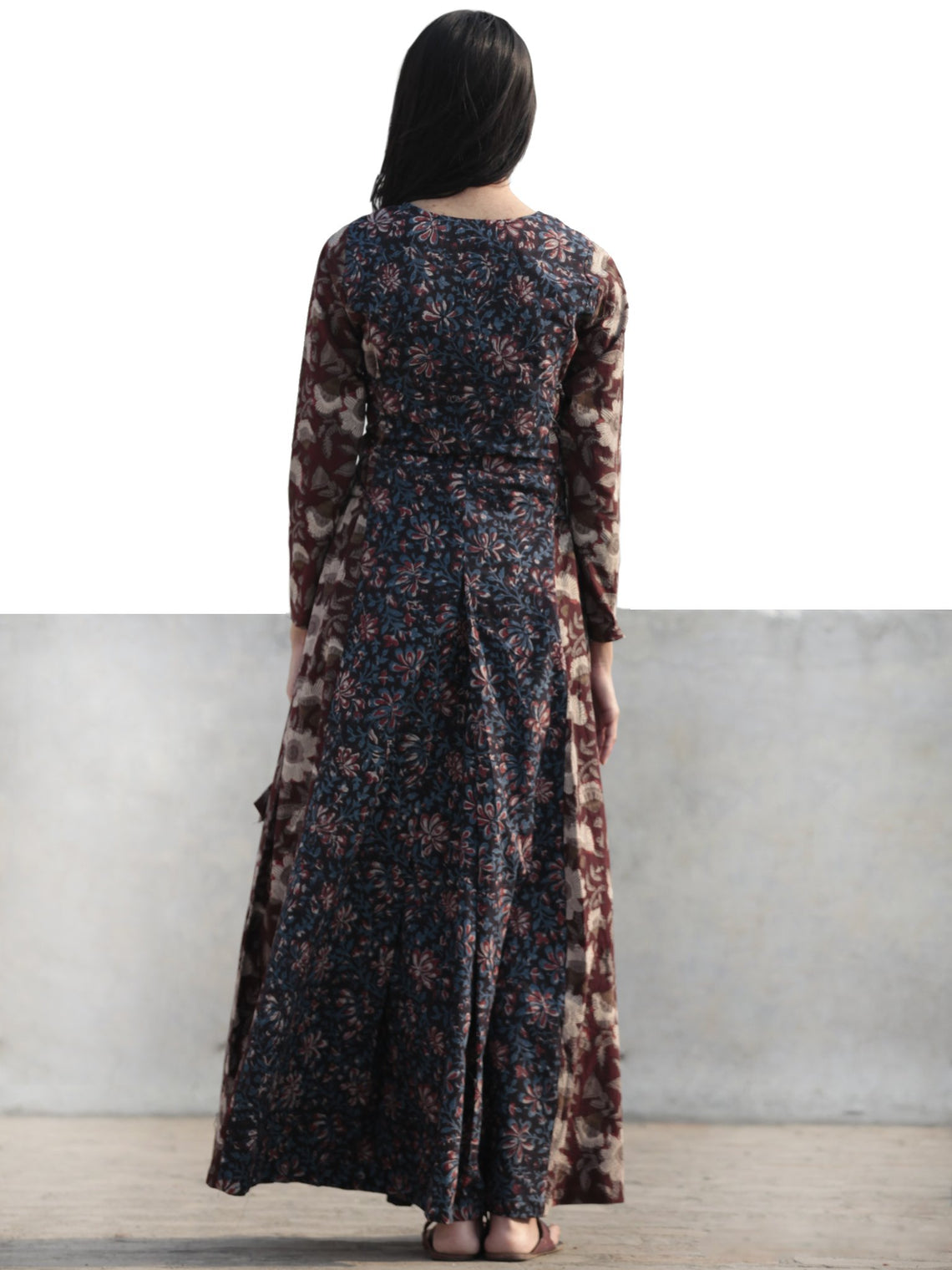 Brown Black Indigo Rust Ivory Hand Block Printed Cotton Dress With Tie Up Detail At Waist  -  D176F1136