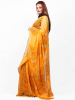 Golden Yellow  Hand Block Printed Chiffon Saree with Zari Border - S031703421