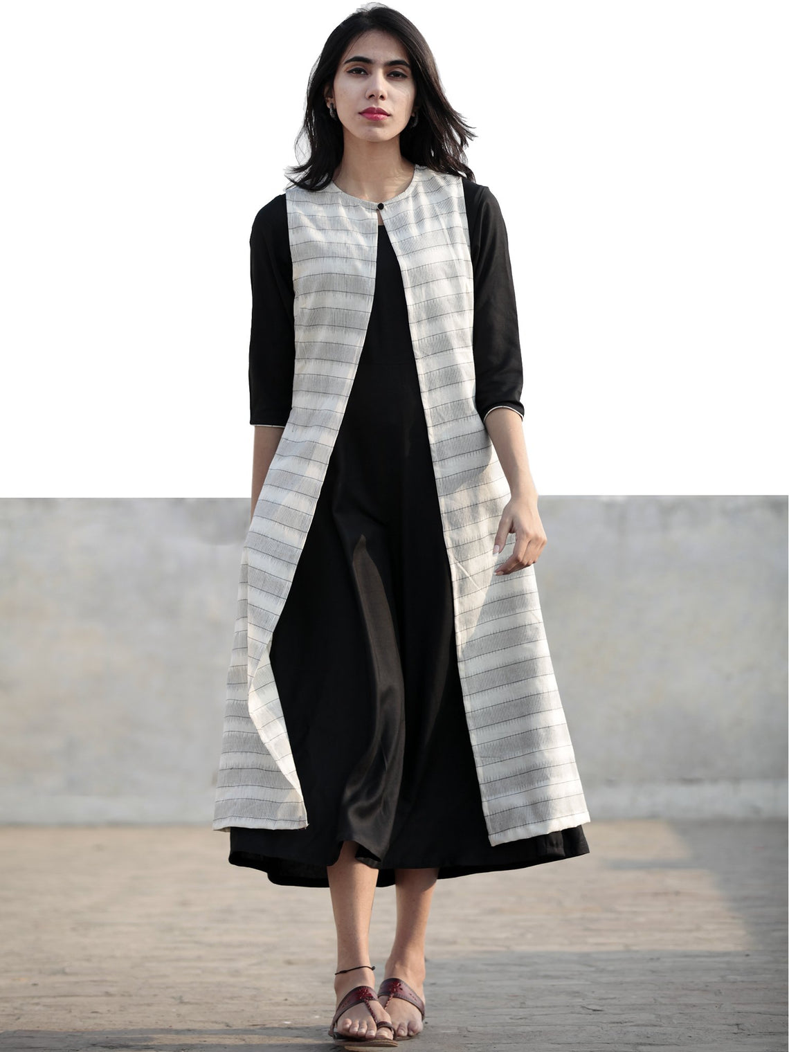 Black Ivory Hand Woven Ikat Jacket And Black Rayon Dress (Set Of 2) - D219F950