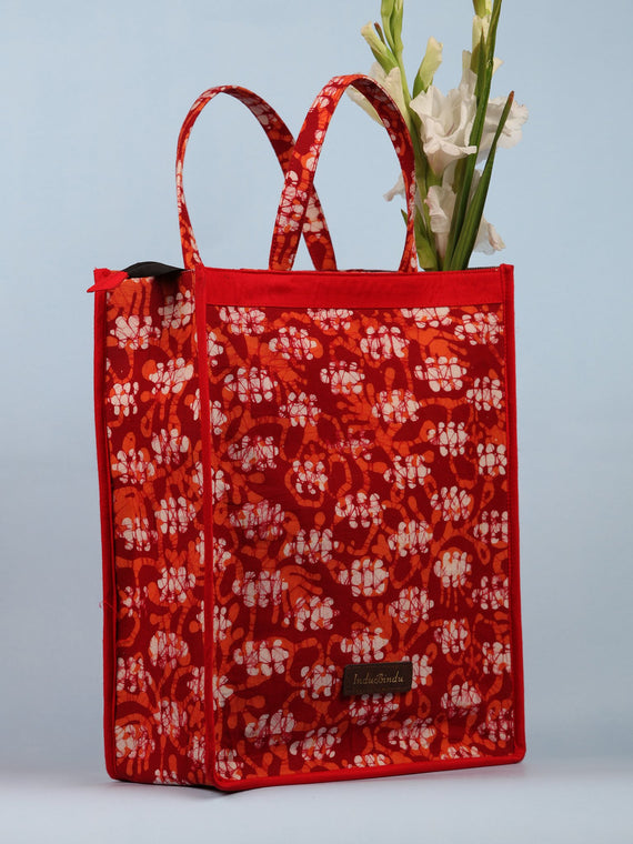 Red White Hand Block Printed Tote Bag - B0303
